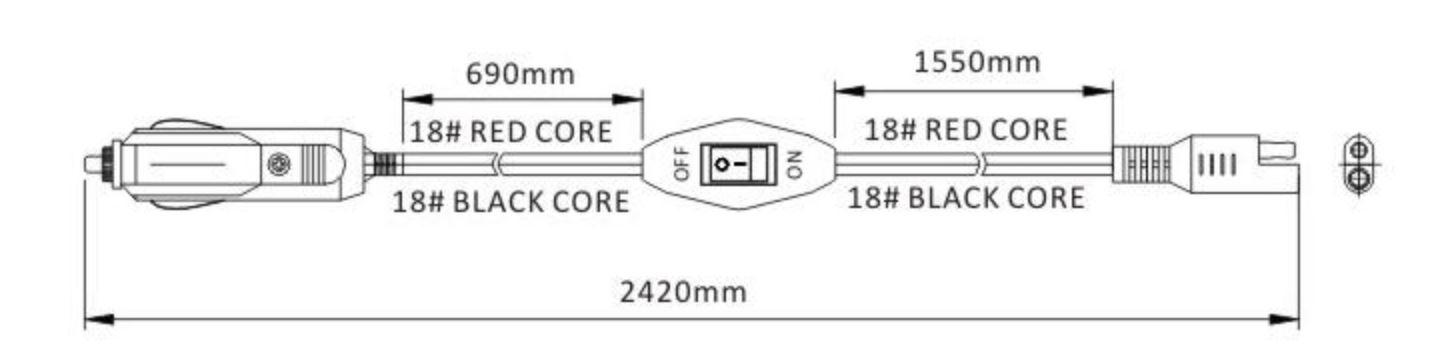 rozměr kabelu do autozapalovače